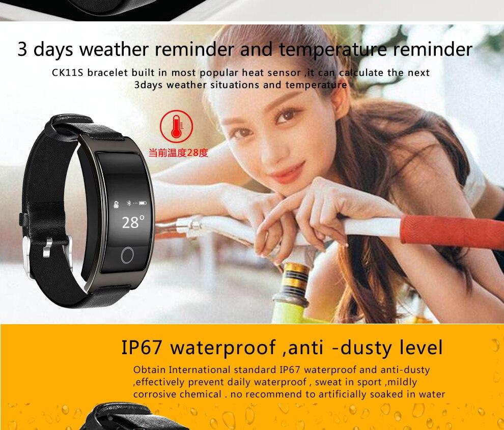 CK11S Wristband Blood Pressure Watch Blood Oxygen Heart Rate Monitor Pedometer IP67 Waterproof marigold 14