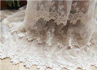 Ivory lace fabric, retro embroidered gauze lace, vintage lace fabric with scalloped trim by the yard