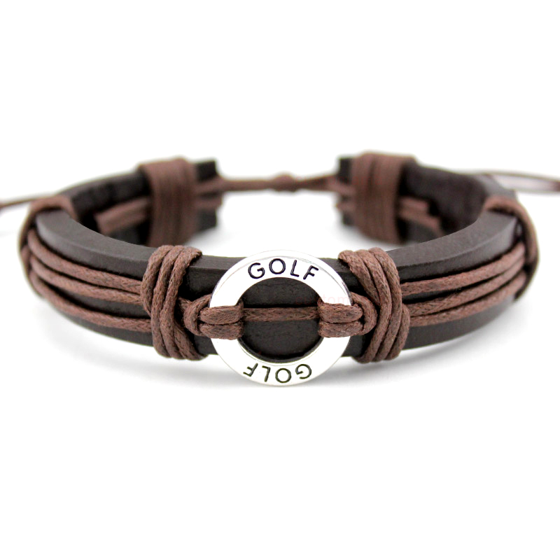 Golf Soccer Football Baseball Softball Volleyball Hockey Gymnastics Tennis Basketball Swim Charm Leather Bracelets Jewelry ...