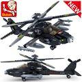 Sluban b0511 del plano de aire negro utility ah-64 helicóptero 3d modelo de bloques de construcción de plástico ladrillos de construcción leping brinquedos