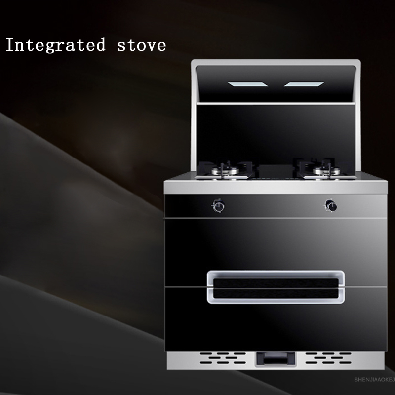 Stainless Steel Cooktop Gas Stove+ Smoke Lampblack Machine Multi-functional Automatic Cleaning Integrated Kitchen Cooker 220V