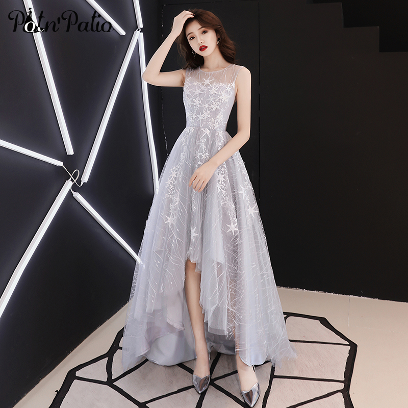 Elegant High Low   Prom     Dresses   2019 Sexy Backless Star Lace Short Front Long Back   Prom     Dresses   Plus Size For Graduation party