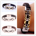 Fashion Charm Genuine Black/Brown Leather 12mm Bracelet Bangle For Mens Womens 316L Stainless Steel Magnet Clasp Jewerly Bangle