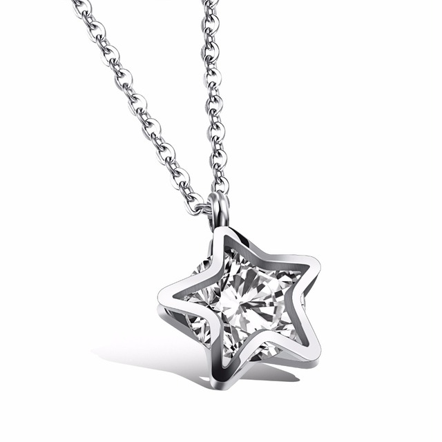 Female Fashion Jewelry Women Mini Lucky Star Girls Pendant Necklace AAA Cz  Stainless Steel Link Chain Wedding Decoration 8d915f299