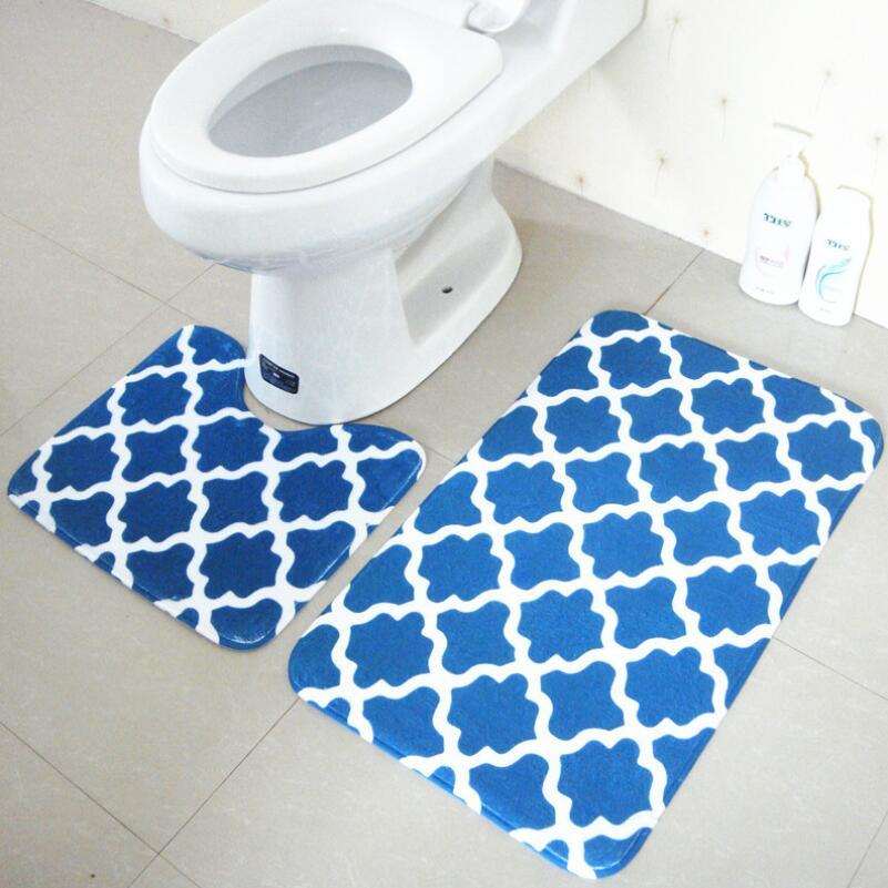 2pcs Set Anti Slip Bath Rug Set Soft Absorbent Bathroom Mat Free Shipping