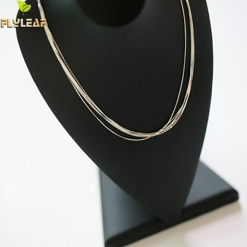 925 Sterling Silver Multilayer Chain Necklace For Women Kvinnor Enkel - Märkessmycken - Foto 4