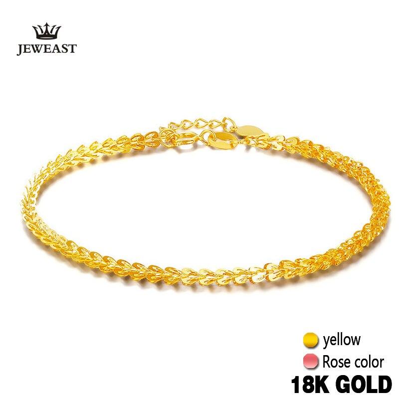 18 k Ouro Puro Mulheres Pulseira Rosa Amarela Menina Genuíno Real Sólida 750 Dom Feminino Pulseira de Luxo Venda Quente 2017 Novo Na Moda Do Partido