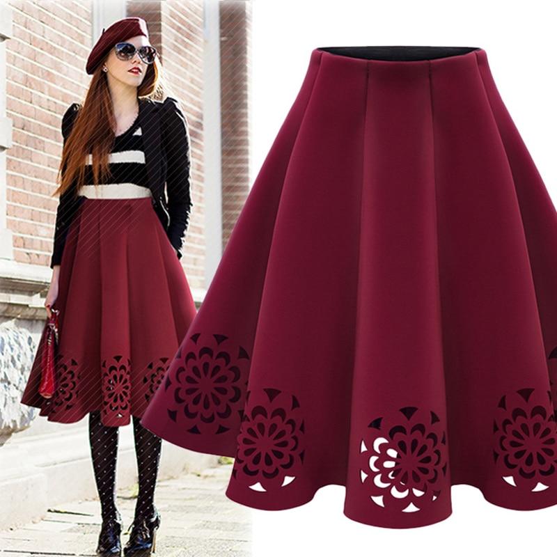crochet tutu skirt women winter red black green vintage high waist jupe femme 2017 gothic hollow. Black Bedroom Furniture Sets. Home Design Ideas