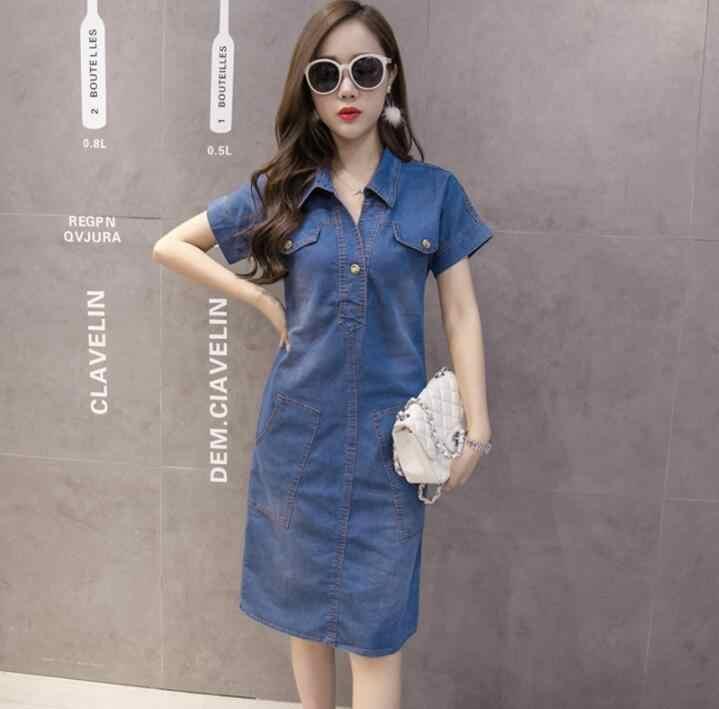 2019 летнее джинсовое платье женское винтажное платье с отложным воротником короткий рукав карманы джинсовые платья Мори пляжные платья AW692