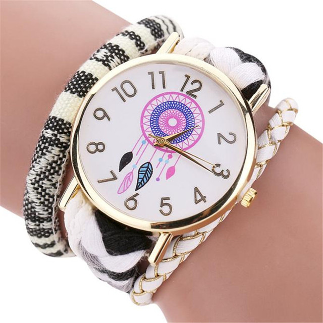 New Stylish Women's Bracelet Watches dream catcher pattern Knit Bracelet Watch L