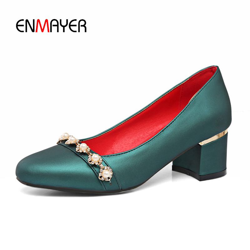 ENMAYER Luxury Brand Shoes Women Pumps Round Toe Slip-on Beading Charms Plus Size 32-47 High Heels Summer Pumps Wedding Shoes enmayer pointed toe summer shallow flats slip on luxury brand shoes women plus size 35 46 beige black flats shoe womens