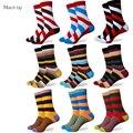 Venta caliente nuevos hombres del estilo ocasional peinado de algodón de colores calcetines de marca hombre vestido de calcetines de punto envío gratis tamaño ee. uu. (7.5-12)