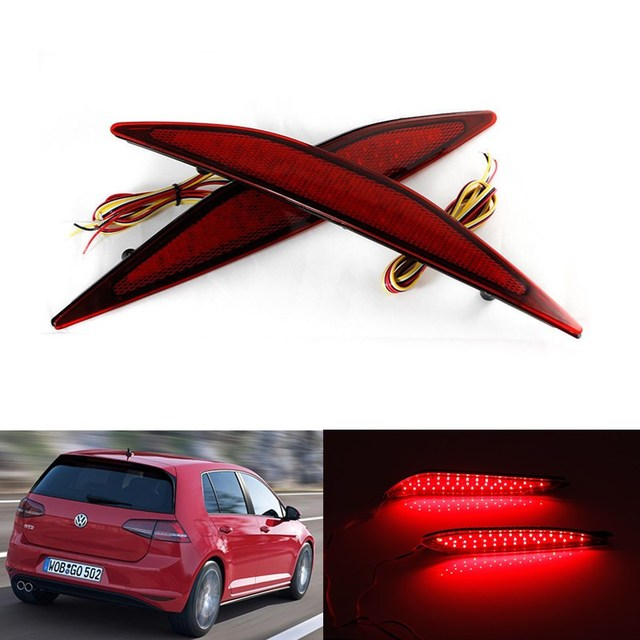 2 PCS New Car styling Estacionamento Aviso Aviso 12 V Rear Bumper refletor de Luz LED Vermelho Cauda luz de Nevoeiro para 2013-2015 VW Golf 7