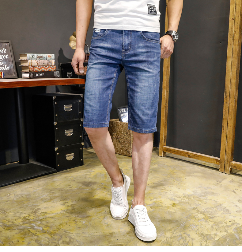 KSTUN Jeans Men Slim Fit Denim Shorts Solid Blue Stretchy Man Jeans Brand 2018 Business Casual Short Jean Pants Cowboys Hombre 11