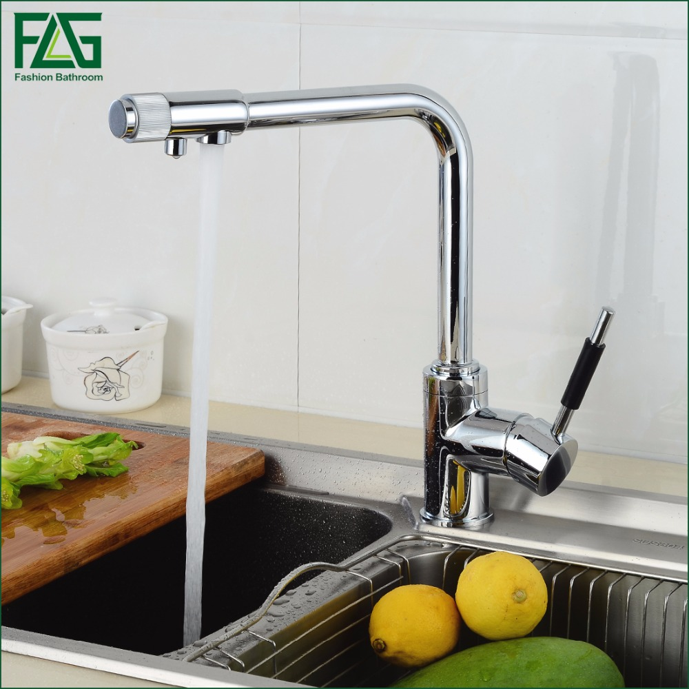 FLG Drinking Water Filter Faucet Deck Mounted Mixer Valve Chrome Single Hole Purifier 3 Way Water