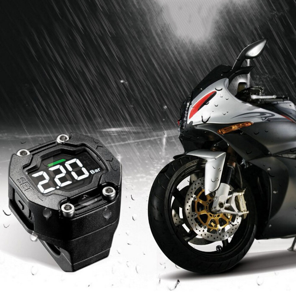 Steelmate ET-900AE DIY Motorcycle TPMS Tire Pressure Monitor Motorcycle Alarm System With External Sensor Wireless LCD Display