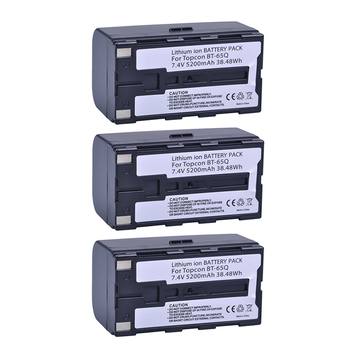 Batmax 3pcs 5200mAh BT-65Q BT 65Q Replacement Battery for Topcon GTS 900 and GPT 9000 Total Station