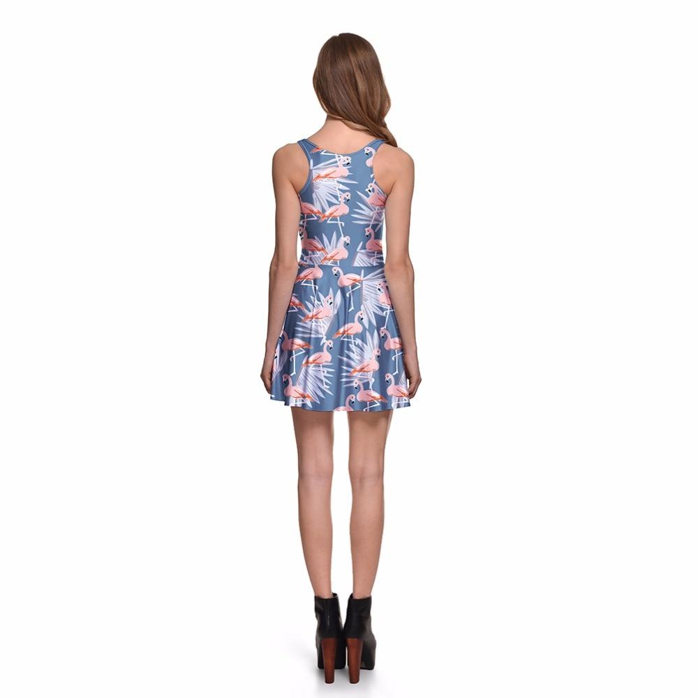 NOVAVOJO Spring Women Dress Flamingo 3D Full Printing Summer Dress Sexy  Sleeveless Floral Dress Plus Size O Neck Beach Dress-in Dresses from Women s  ... 5f1fc0e2f51c