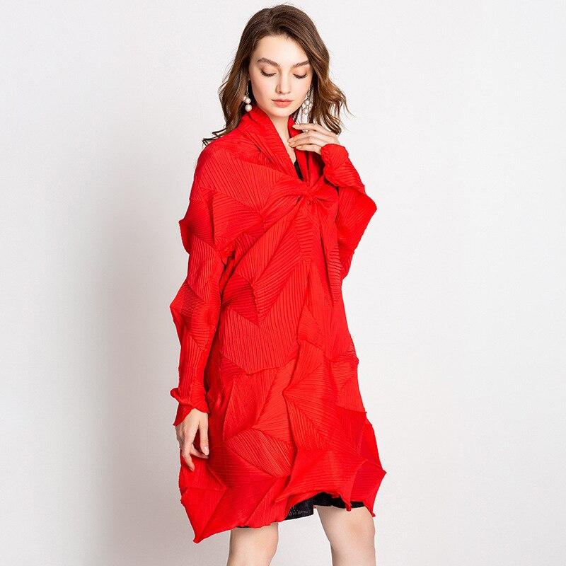 Mulheres Plissada Moda Casual Mangas Compridas Com Decote Em V Aberto Ponto Wide-cintura Sólidos Trench Coat
