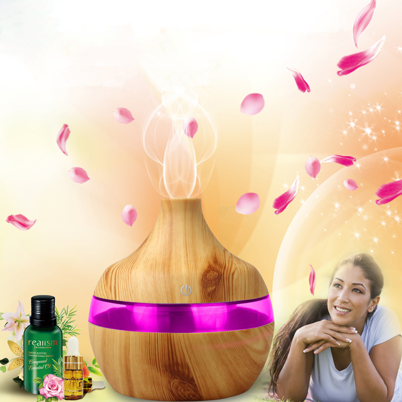 300ml aroma diffuser USB Humidifier Ultrasonic Aromatherapy Essential Oil Diffuser Wood grain  Aroma Mist Make With LED Light Humidifiers     -