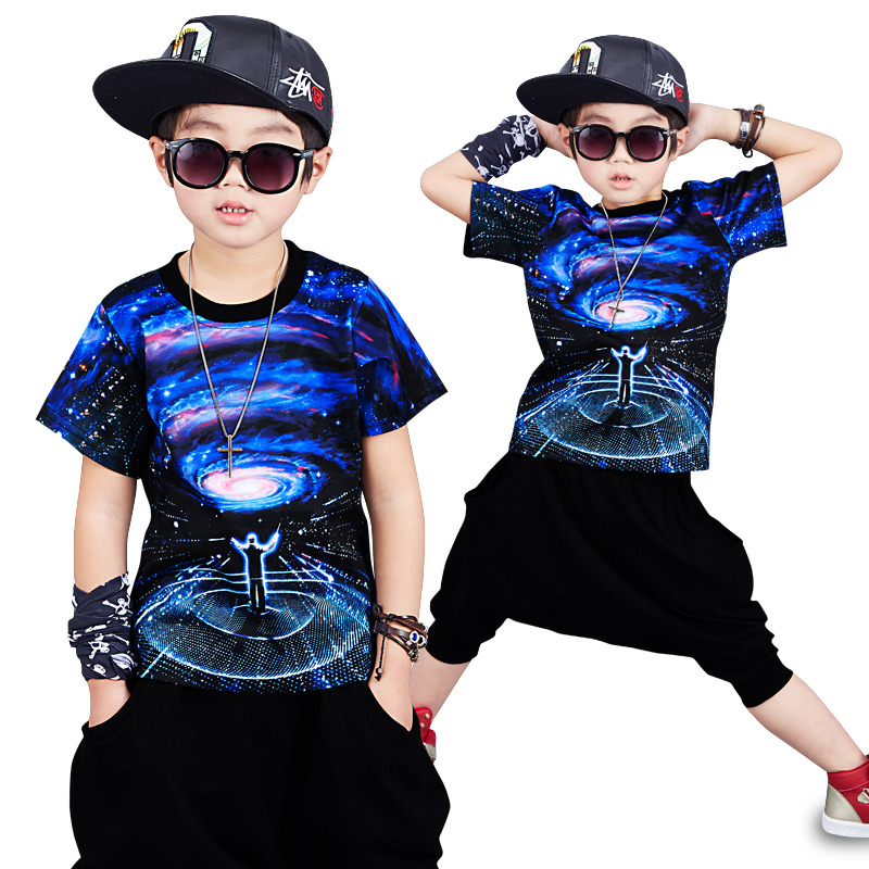 2018 Summer Boy 3D Print Sport Suit Short Sleeve T shirt+ Pants Clothing Set Boy School Fashion Perform Hip Hop Clothes Set new 2018 spring fashion baby boy clothes gentleman suit short sleeve stitching plaid vest and tie t shirt pants clothing set
