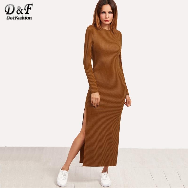 Dotfashion <font><b>High</b></font> <font><b>Slit</b></font> <font><b>Ribbed</b></font> Casual <font><b>Dress</b></font> 2017 Autumn Brown Long Sleeve Long <font><b>Dress</b></font> Female Round Neck Sheath Plain <font><b>Dress</b></font>