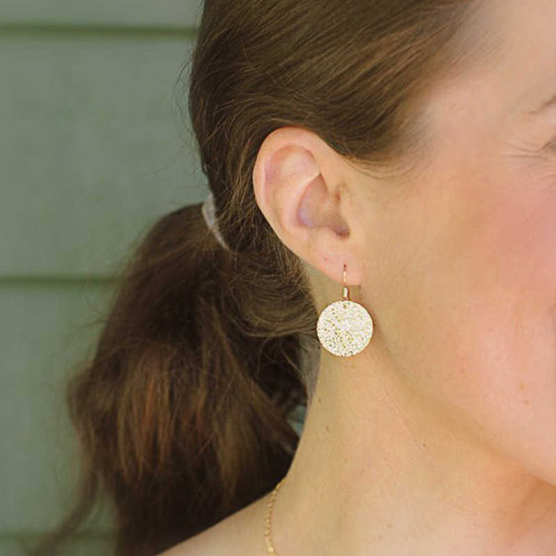 FLTMRH   Gold delicate jewelry, gold hammered disc earrings, minimalist jewelry