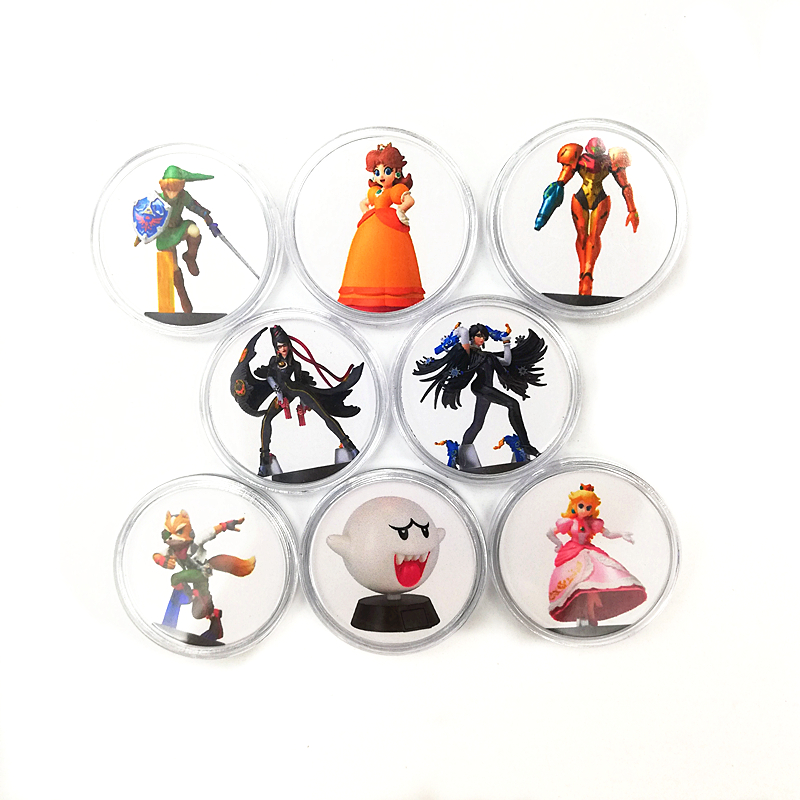 New Full Set 8Pcs Bayonetta 2 Of Amiibo Card Game Collection Coin NFC Tag NS Switch Zelda Mario Kirby Kart Splatoon Diablo image