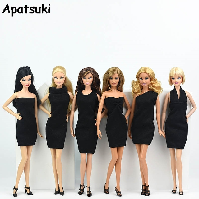 6pcslot Black Little Dress For Barbie Doll Sex Evening Dresses