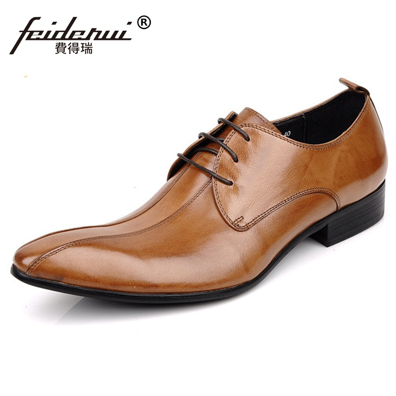 Elegant Pointed Toe Man Formal Dress Business Shoes Genuine Leather Male Oxfords Pointed Toe Men's Derby Bridal Flats GK46 ruimosi new arrival formal man bridal dress flats shoes genuine leather male oxfords brand round toe derby men s footwear vk94