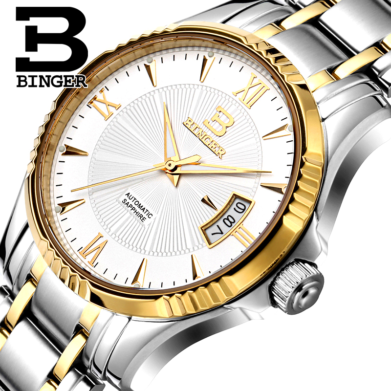где купить Switzerland Men's Watch BINGER Watch Men Luxury Brand Men Watches Automatic Mechanical relogio masculino sapphire Wrist B5011-5 по лучшей цене