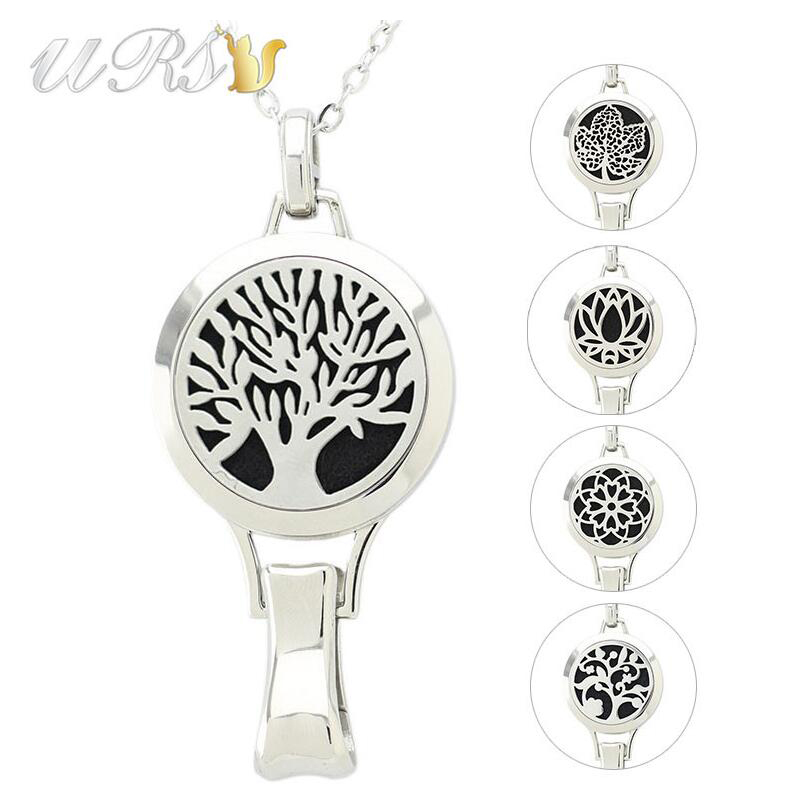 With Chain as Gift Hot Fashion 30mm Magnetic 316L Stainless Steel Essential Oil Diffuser Necklace Perfume