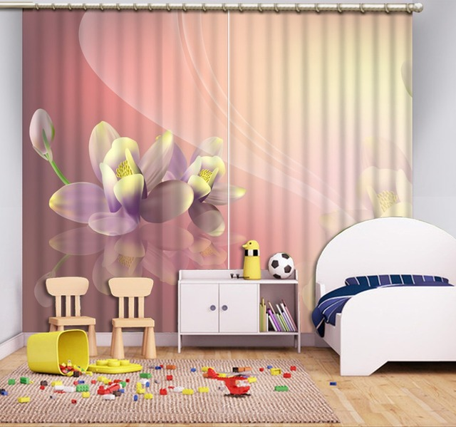 3d Curtains Colorful Beautiful flowers High quality Living Room ...