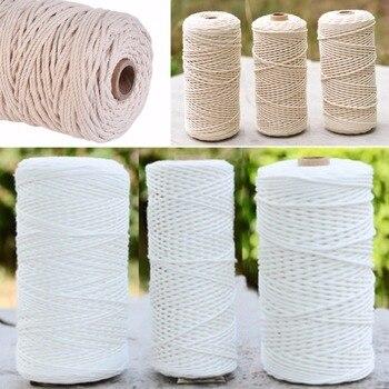1pc 100% Natural Cordão De Algodão Trançado 1/2/3mm de Diâmetro 200 m/400 m de Comprimento para DIY Home Textile Artesanato Macrame Artesanal Corda