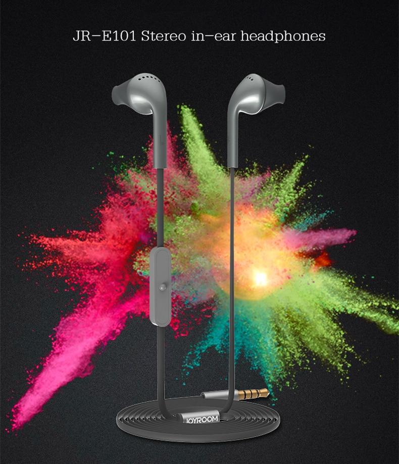 Joyroom E101 3.5mm Stereo Bass in-ear Earphone Headset with Microphone original joyroom e103 in ear earphone 3 5mm stereo headset dynamic headphone aerospace aluminum alloy earphone