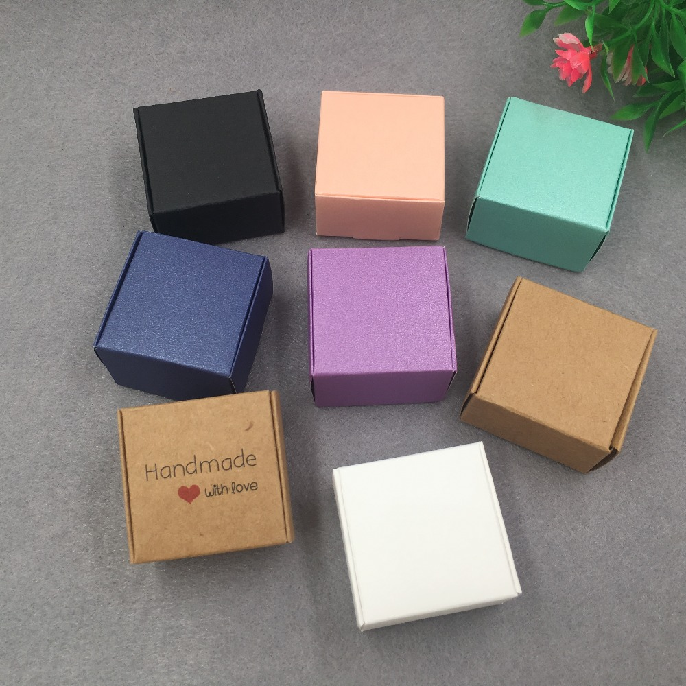 20pcs/lot 40X40X25MM Kraft Paper Small Gift Boxes Cake Packing Box Accessories Storage Box Sweety Candy Packing Box