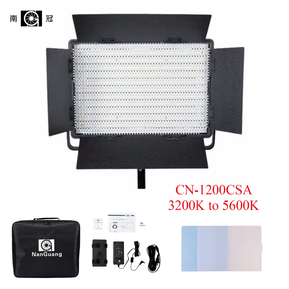 Nanguang CN-1200CSA LEDS 3200K to 5600K 7750 Lux LED Video Studio Light Panel for Camera Video with V Lock Battery Mount Extreme