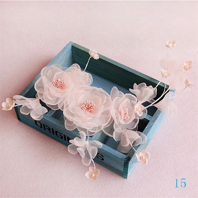 2016 Nueva Llegada Hecha A Mano Hermosa Rosa Adornos de Perlas de Flores de Boda Nupcial Accesorios Para el Cabello Sombreros De Boda