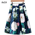 Summer Women's Floral Marilyn Monroe Print Skirt Vintage Casual Knee-length Skirts Retro Female Midi Pleated Skirts