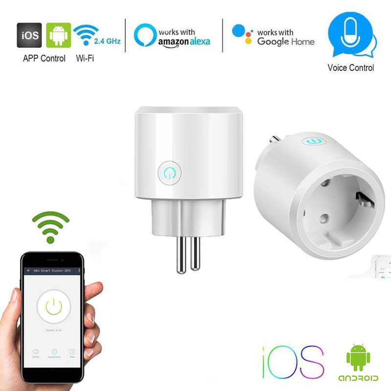 2018 New WIFI Smart Plug Smart Switch Socket EU Plug Audio Control Smart Timing Socket Wireless Outlet Voice Intelligent Control