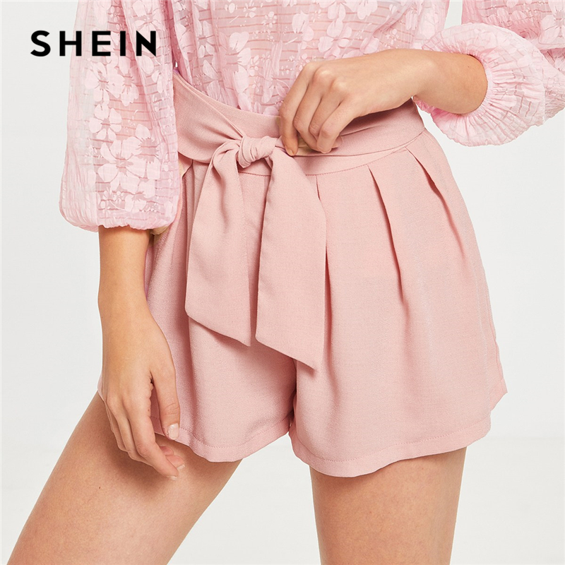 SHEIN Elegant Pink Waist Knot Zip Side Pleated Solid   Shorts   Women Summer Belted Mid Waist Boho 2019 Casual Ladies   Shorts