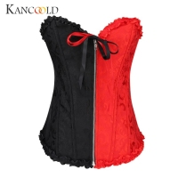 KANCOOLD New Sexy Underbust Corset Corselet Latex Waist Corset Black Red Patchwork Gothic Zipper Body Satin