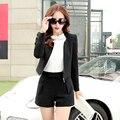 Terno de calça Nova Moda 2016 Mulheres de Negócio Ternos Venda Quente Curto Blazers casuais Conjuntos Com Shorts 2 Peça Conjunto das Mulheres Plus Size XXL