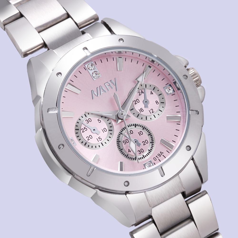 NARY uhr frauen mode luxus uhr Reloj Mujer Edelstahl Qualität Diamant Damen Quarzuhr Frauen Strass Uhren