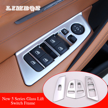 Armrest Window Lift Button Switch Decoration ABS Chrome Cover Trim For BMW LHD 5 Series G30 2017-2018 interior Car-Styling 5pcs abs idrive media control button cover sticker trim for bmw 5 series g30 2017 decoration