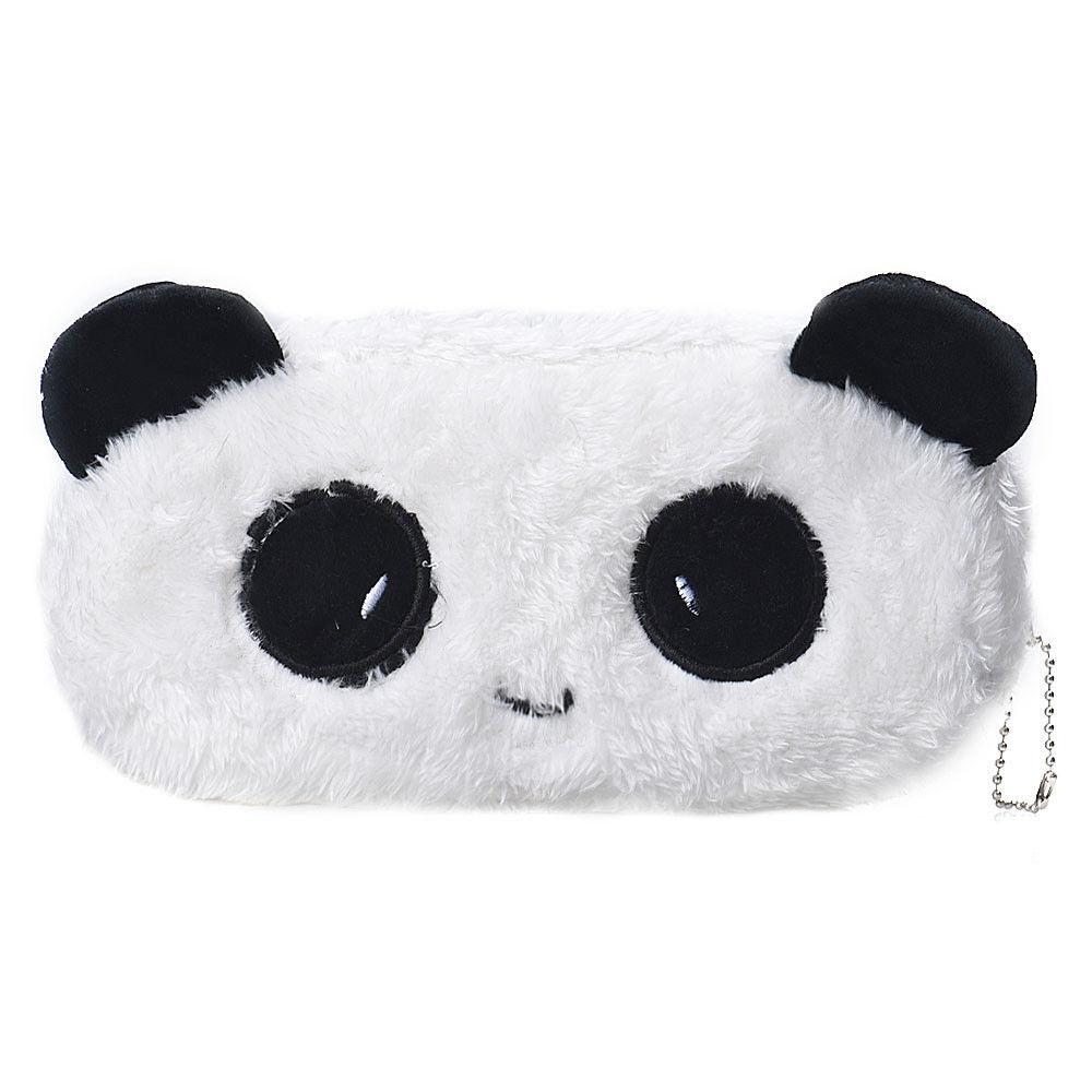 Pencil Case Cute Kawaii Plush Panda Pencil Case Large Capacity School Supplies Novelty Cosmetic Makeup Cartoon Storage Bag