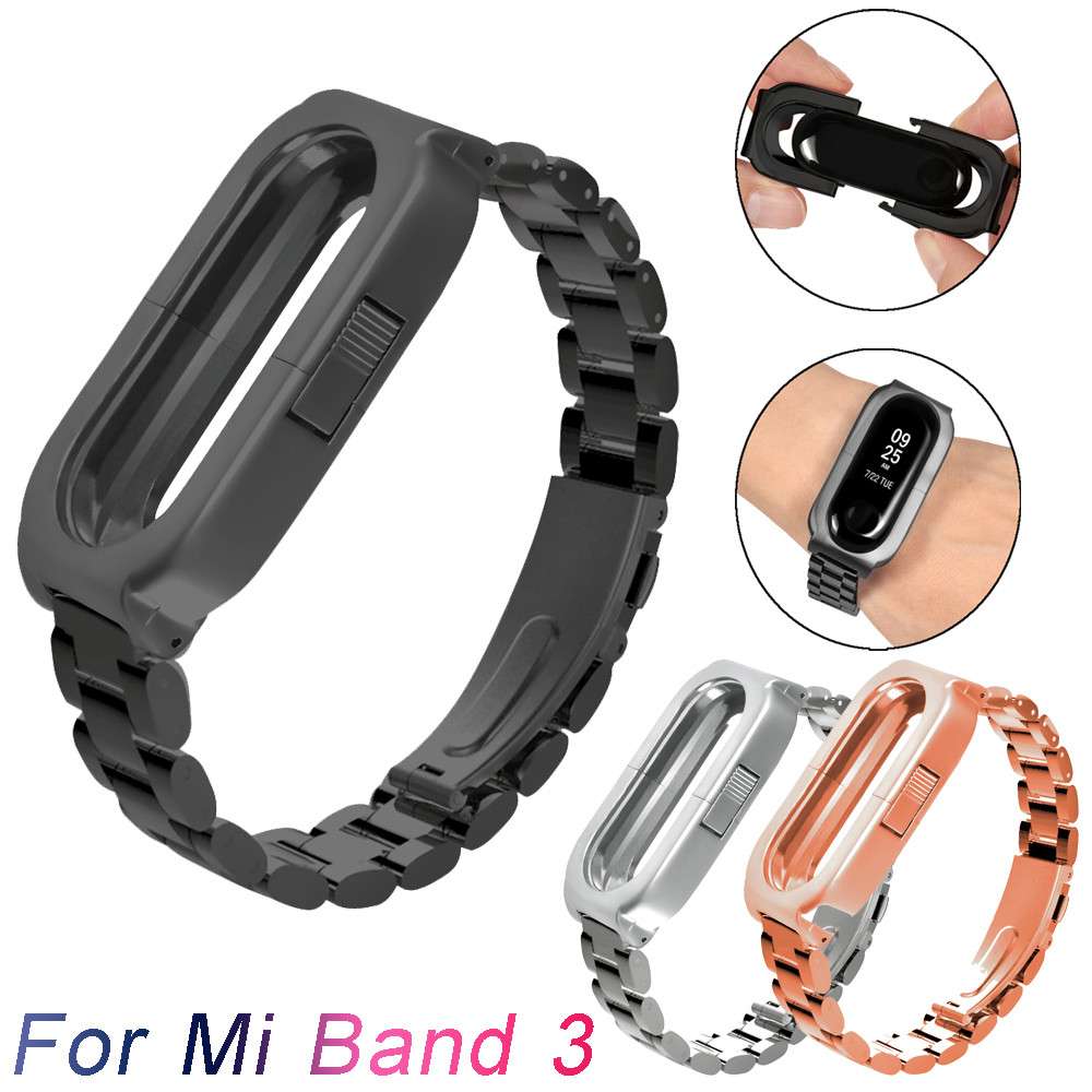 Watchband Stainless Steel Smart Watch Band Luxury Wrist Strap Metal Watch Band For Xiaomi Mi Band 3