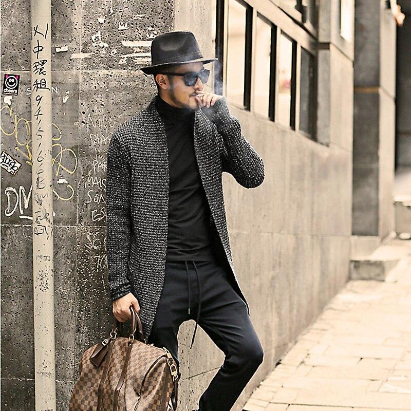 Hommes chandail à manches longues Cardigan hommes Pull style cardigan vêtements mode épais chaud Mohair chandail hommes angleterre style chaud J511 - 6