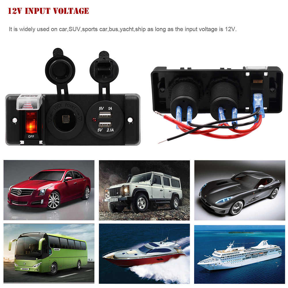 5PIN 3 Gang Rocker Switch Panel + 12V Cigarette Socket + Dual USB Charger with Red LED light Indicator for Boat Marine/Car