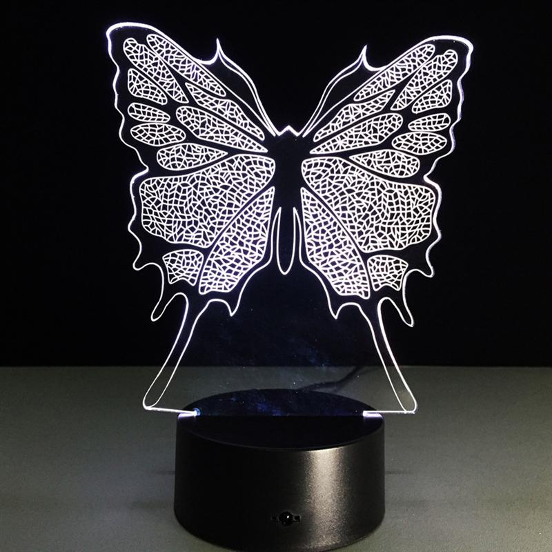 3D лампы бабочка потрясающего трехмерная световой эффект USB сенсорный выключатель 7 цветов изменить Творческий Дизайн ночник